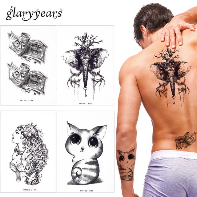 17 designs 1 blatt gefalschte schwarz korper make up tattoo temporare wasserdicht nette katze eule