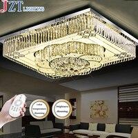 Modern Remote Lighting Clear LED K9 Crystal Ceiling Lamps Rectangle Design Lighting Fixture Living Room Remote