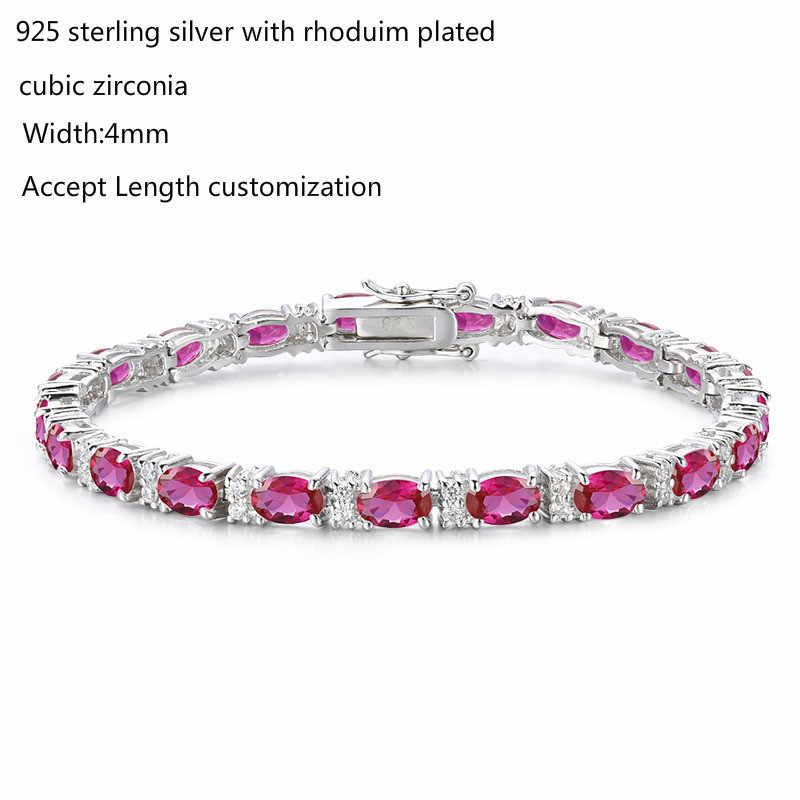 925 Sterling Silver Cluster owalne jajko róża czerwone kamienie bransoletki tenisowe dla kobiet Pulseras Pulseira Bracelete biżuteria dziewczyny przyjaciel