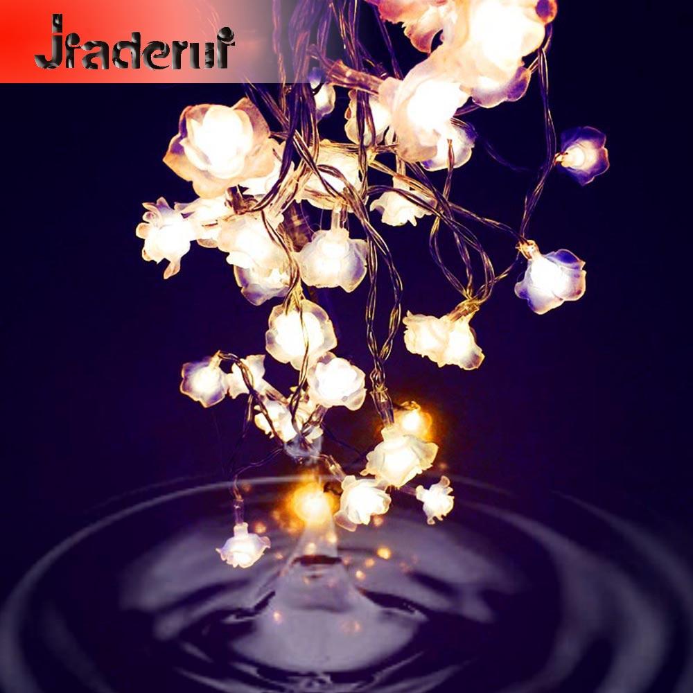 Jiaderui 9 Цвета 1 м 10 LED 2 м 20LED День Святого Валентина цветок фонари светодиодные фары Роуз строку Свадебная вечеринка Рождество декор гирлянда ...