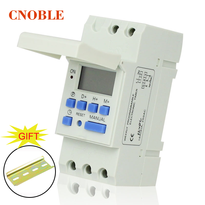 цена на AHC15 AC 220V Digital LCD Power Timer Programmable Time Switch Relay 25A 16A GOOD temporizador with Din Rail good quality