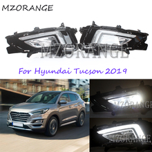 MZORANGE 2Pcs Car Styling Daytime Running Light DRL For Hyundai Tucson 2019 White LED Day Light 12V ABS Front Fog Lamp Cover free shipping auto car led drl lights front running car lamps led fog light drl for hyundai tucson