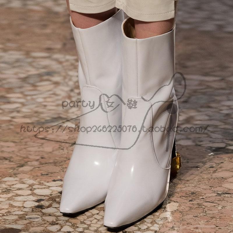 Chaussures Talon Cheville Mixte Sapato Mujer Femmes Brevet Bottes Dames Vis As Pic Bota as Feminina Chaude Pic En Piste Couleur Botas Feminino Cuir Court ZuXOkiP