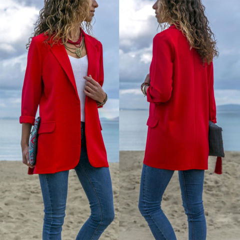 Women Fashion Cotton Blend Slim Business Blazers Work Wear Comfortable Suit Outwear New 2019 Autumn Spring Multan