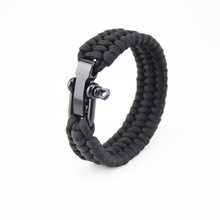 Outdoor Camping Braided Pulseras Rescue Paracord Bracelets Parachute Cord Men Emergency Rope U Type Survival Stainless Buckles