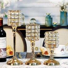 Европейский стиль хрустальные подсвечники свадебные центральные металлические украшения свечи украшение дома Waxinelichthouder