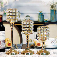 European Style Crystal Candle Holders Wedding Centerpieces Metal Ornaments Candles Home Decoration Waxinelichthouder