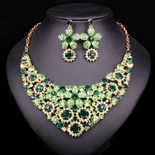 Fashion rhinesthones wedding necklace earrings set bridal for Costume jewelry for evening gowns