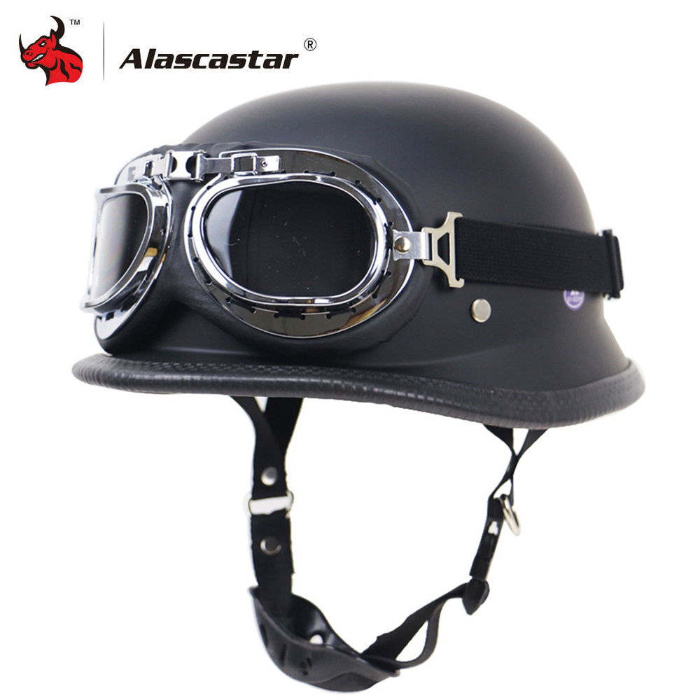 Zombies Racing Motorcycle Helmet Half Face Retro Moto Helmet Vintage German Style Casco Casque Scooter Helmets With Goggles DOT|Helmets| |  - title=