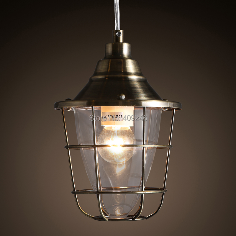 Loft Industrial Nordic Glass Mini Cage Silver/Bronze Edison Droplight Hanging Light Ceiling Light Bedside Hall Cafe Bar Lamp vintage loft industrial edison flower glass ceiling lamp droplight pendant hotel hallway store club cafe beside coffee shop