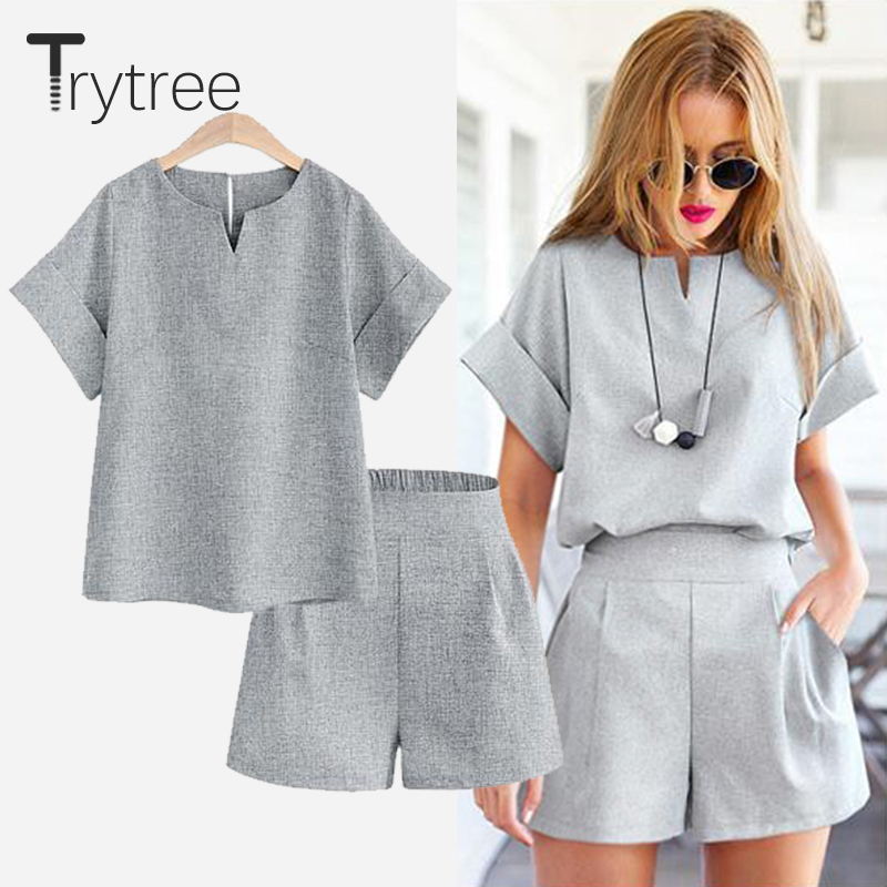 Trytree Summer Autumn Women Two Piece Set Casual Polyester Tops + Short Soild Female Office Plus Size Suit Set Short Sleeve Sets