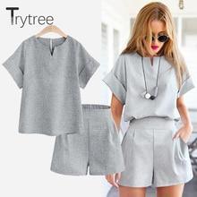 Trytree yaz sonbahar kadın iki parçalı set rahat Polyester tops + kısa katı kadın ofis artı boyutu takım elbise seti kısa kollu setleri