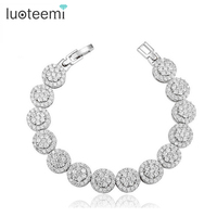 Wome Lucury AAA Cubic Zirconia Clear Stones Paved Platinum Plated Bracelet 2014 New Jewelry