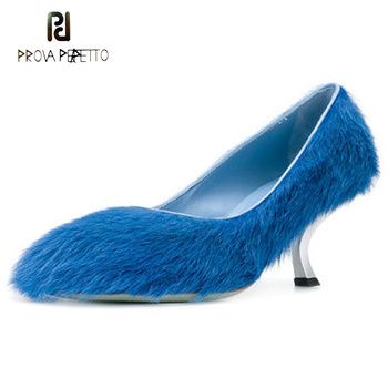 Prova Perfetto 2018 new design colorful horsehair women pumps round toe kitten heels slip on fur shoes high heel lady party shoe