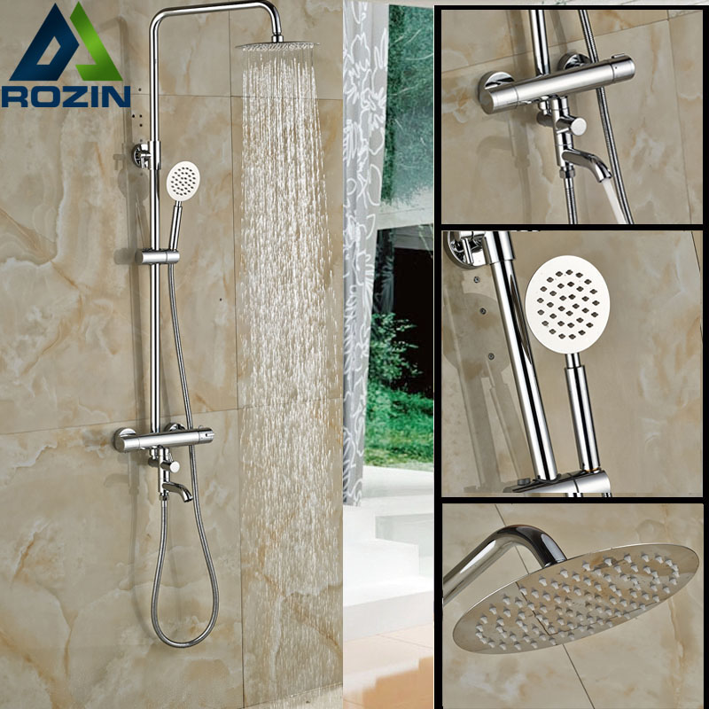 Chrome Rainfall Thermostatic Mixer Shower Set Dual Handle Bathroom Wall Mount Bath Shower Faucet with Handshower dofaso quality black and chorme mixer thermostatic shower faucet bathroom wall mount simple thermostatic shower mixer set
