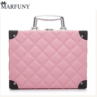 MARFUNY Brand Makeup Bag Cosmetic Box Female Diamond Lattice Makeup Case Pouch Professional Cosmetic Bags Women Bag Organizador