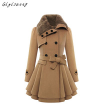 Women Wool Coat 2017 New Winter Fur Collar Coat Lapel Double-breasted Wool Jacket Outwear Female Plus Size Free Shipping,Dec 13