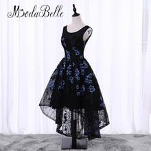 modabelle Black Short Front Long Back Flowers Floral Prom Dress Cheap Junior Girls Scoop Neck Lace Formal Homecoming Dresses