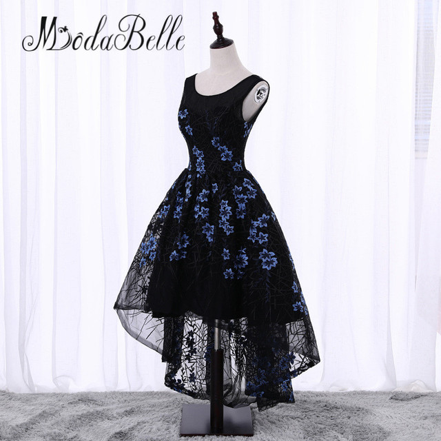 72094659c20 modabelle Black Short Front Long Back Flowers Floral Prom Dress Cheap  Junior Girls Scoop Neck Lace Formal Homecoming Dresses