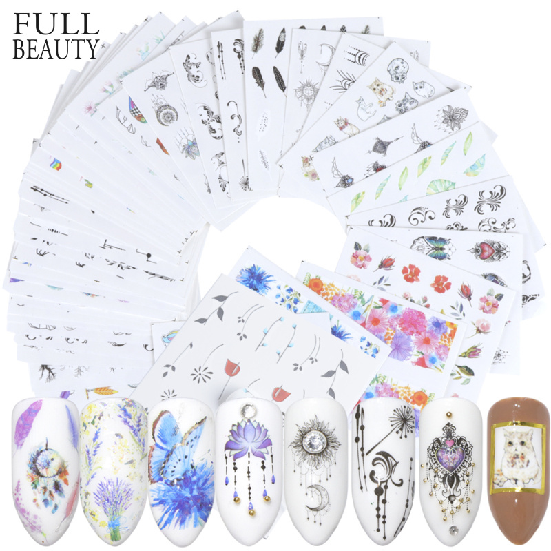 Full Beauty 40pc Water DIY Slider Nail Sticker Set Flower Black Necklace Tattoo Manicure Nail Art Polish Decor Tips CHSTZ608 658-in Stickers & Decals from Beauty & Health