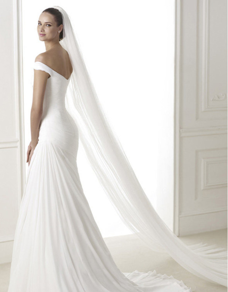 Bridal tiaras and veils - White Ivory Chapel Length Wedding Veil Fascinator Bridal Tiaras With Comb China Mainland