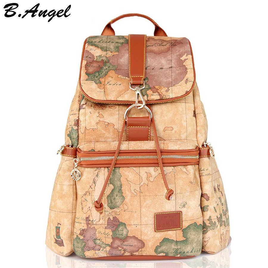 3a61814c4529 2016 Модные Винтажные высокого качества карта мира рюкзак женщины рюкзак  кожаный рюкзак печати рюкзак