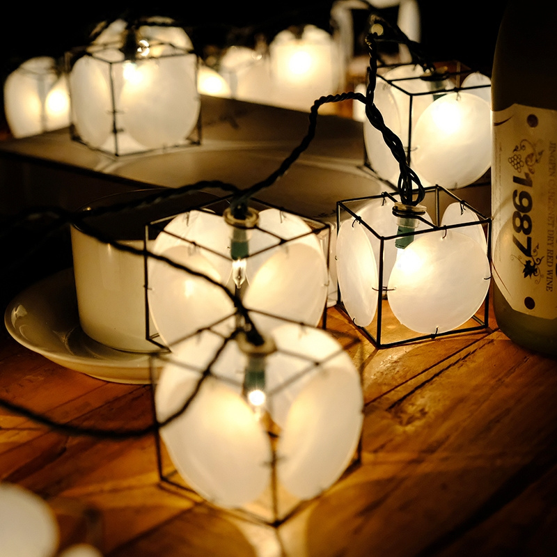 20Led Fairy Shells Lanterns Battery Operated String Lights 3M LED Decoration For Christmas Garland New Year gerlyanda 2018 20led fairy metal gold watering can battery operated string lights 3m led decor for christmas garland on the window abajur
