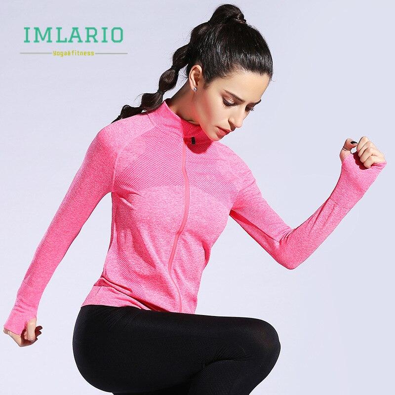 Imlario Tracksuits Seamless-Jackets Sport-Coat Yoga-Top Thumb-Holes Long-Sleeve Training