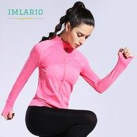 Imlario Zipper Running Seamless Jackets Women Pink Yoga Top Training Fitness Tracksuits Long Sleeve Sport Coat with Thumb Holes