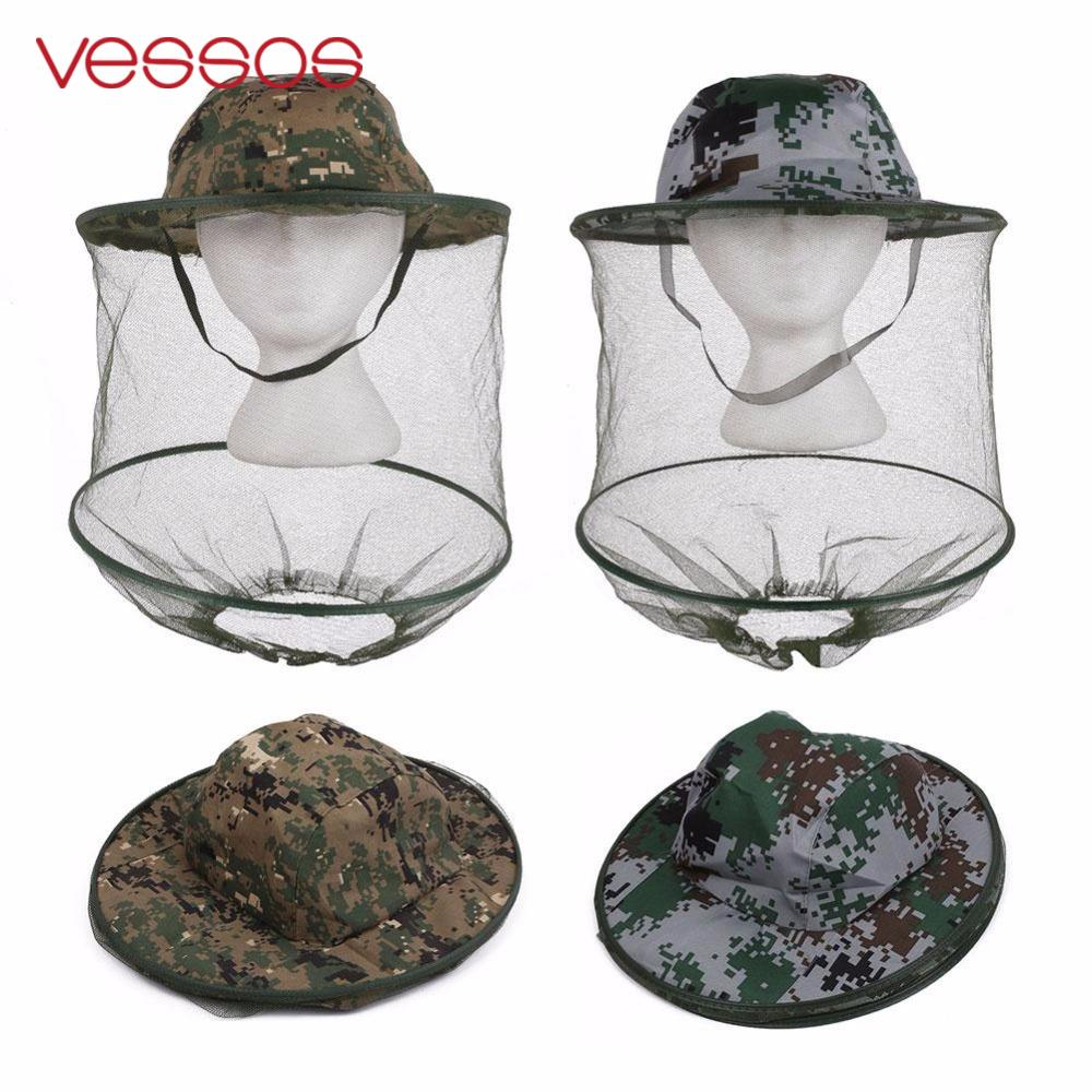Camouflage Anti Mosquito Fishing Hat With Net Mesh Head Cover Fisherman Hat Beekeeping Camping Mask Face Protect Caps naturehike outdoor anti mosquito head protection mesh fabric head cover mask black