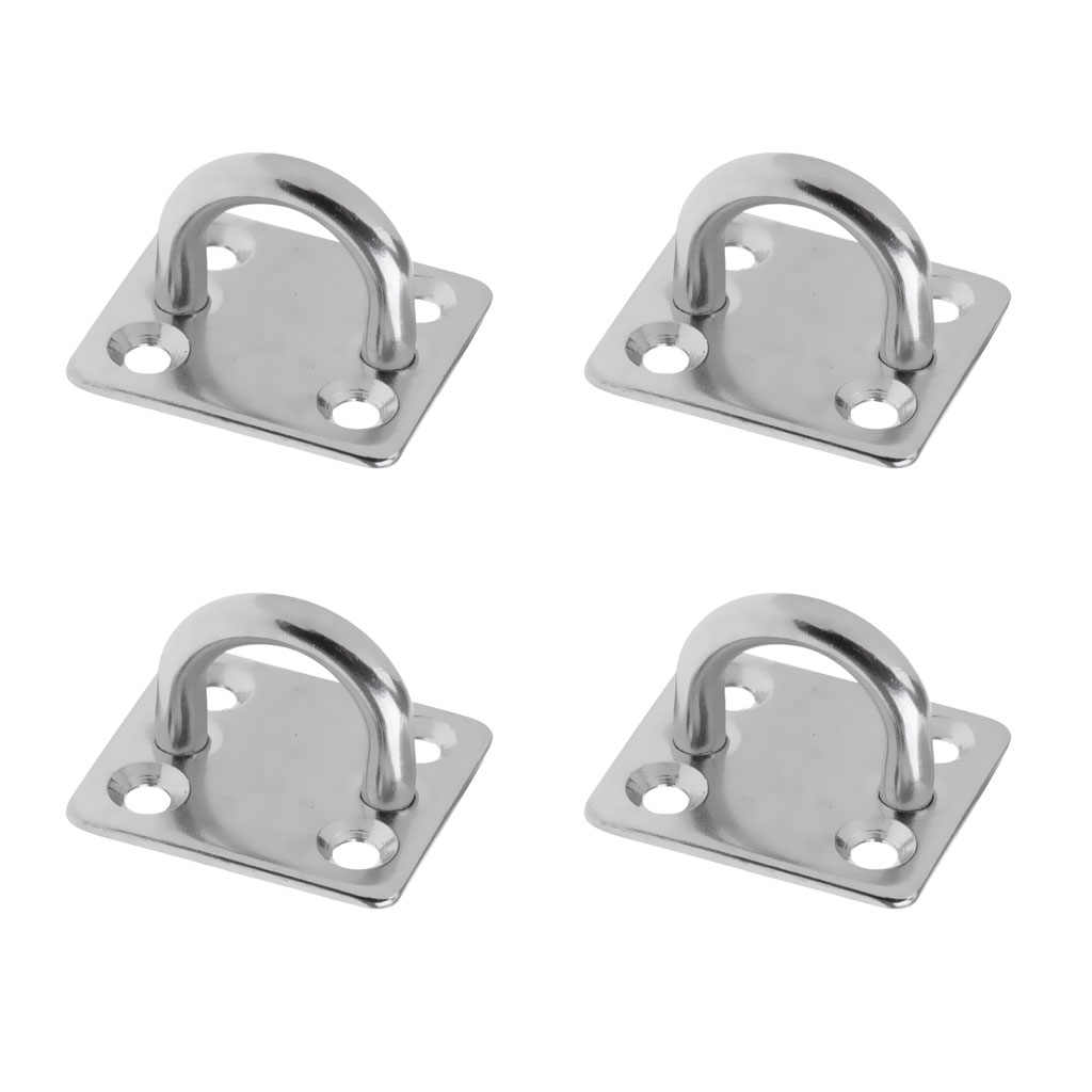 2Pc Heavy Duty Square Eye Plates With Ring for Marine Boat Shade Sails Yacht
