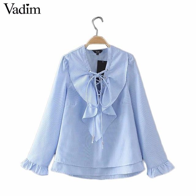 Kobiety elegancki ruffles lace up v szyi koszula w paski muszką długi rękaw bluzki kobieta casual streetwear topy blusas LT1701