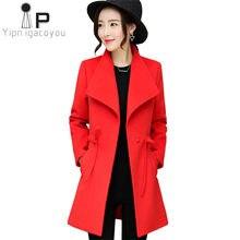 59f9be3034deba Herbst Winter Frauen Mäntel 2018 Koreanische Big size Warme Lange Mantel  Frauen Faux Wolle Mantel Gelb Rot Jacke Elegante Weibli.