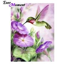 Ever Moment DIY Diamond Painting Cross Stitch Hummingbird Purple Flowers Picture of Rhinestones Home Decorative Craft ASF1048