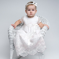 Without Headband New Arrival Baby Baptismal Gown White Short Sleeves Appliques A Line O neck Formal Long Baby Birthday Dresses