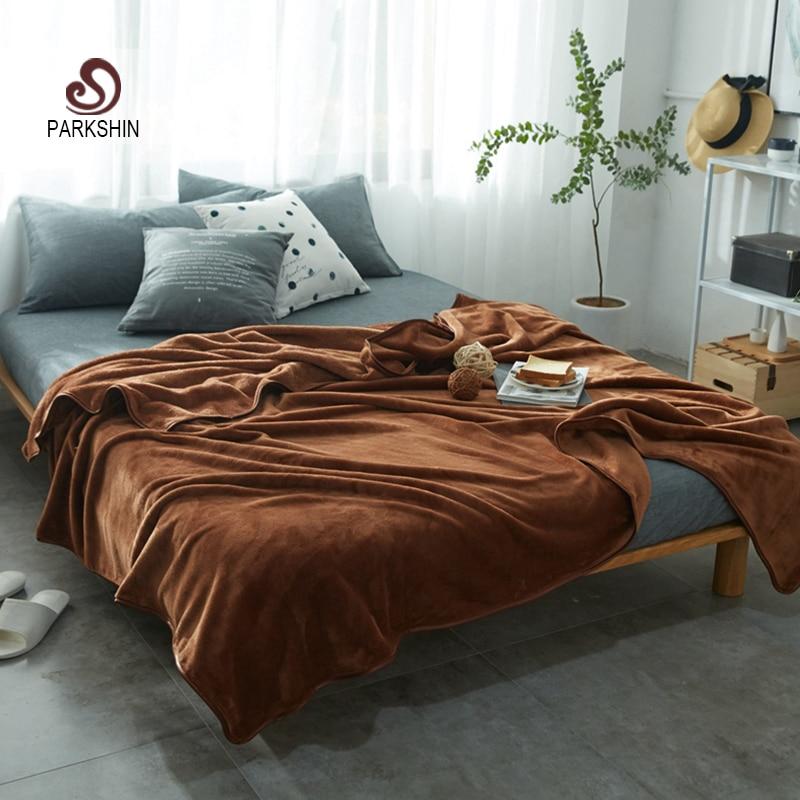 Parkshin Coffee Throws Flannel Blanket Soft Winter Elegant Blanket Wrap Family Bedding Super Soft Sleeping Bedspreads 6 Size