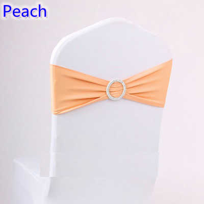 Peach colour on sale chair sash with Round buckles for chair covers spandex band lycra sash bow tie wedding decoration