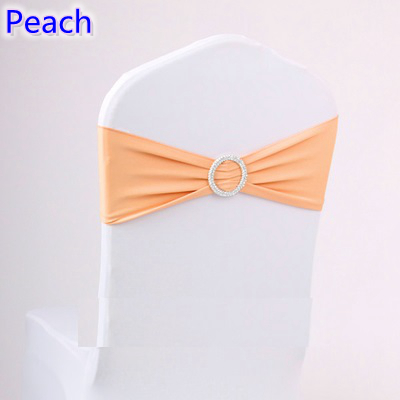lycra chair covers for sale rolling ride atlantic city peach colour on sash with round buckles spandex band bow ...