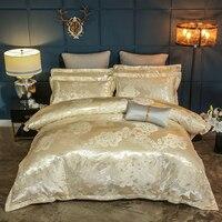 2018 Yellow Golden Flowers Bedding Sets Silk Cotton Blend Fabric Bedlinens Jacquard Duvet Cover Set Bedsheet Pillowcases