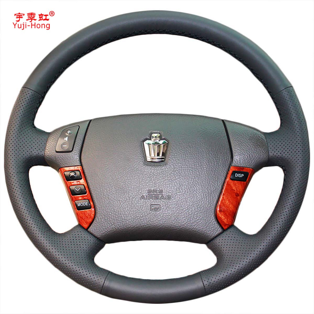Car steering wheel covers case for toyota crown 2005 2009 genuine leather auto cover hand
