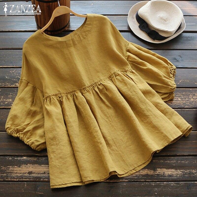 Fashion Ruffle Blouse Summer Women's Tunic 2019 ZANZEA Vintage Casual Linen Tops Female 3/4 Lantern Sleeve Blusas Pleated Shirts