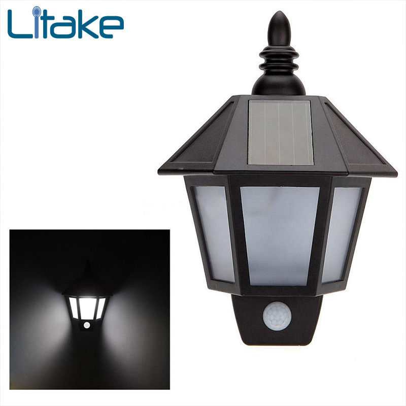 Litake LED Wall Light PIR Infrared Body Motion Sensor Solar Power Panel Outdoor Yard Garden Lamp for Garden Supplies