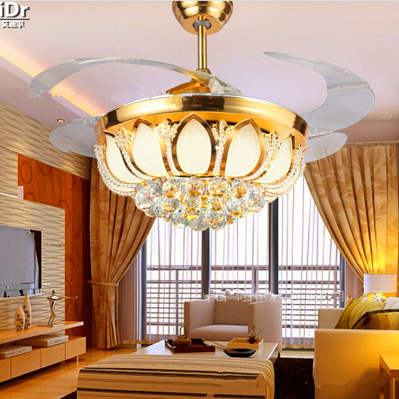 LED Fan Lights Living Room Lamp Bedroom Minimalist Restaurant Invisible Retractable 42 Inch Ceiling