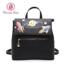 Принцесса Сисси Мода милый черный и синий рюкзак женщина Back Pack из искусственной кожи рюкзак Новое поступление 2017 года Дамы назад сумки для женщин