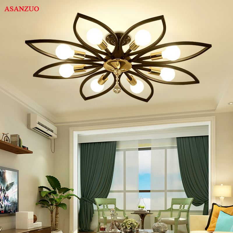 Modern Crystal Iron Ceiling Lights Simple American restaurant  Nordic living room bedroom Lighting fixtures