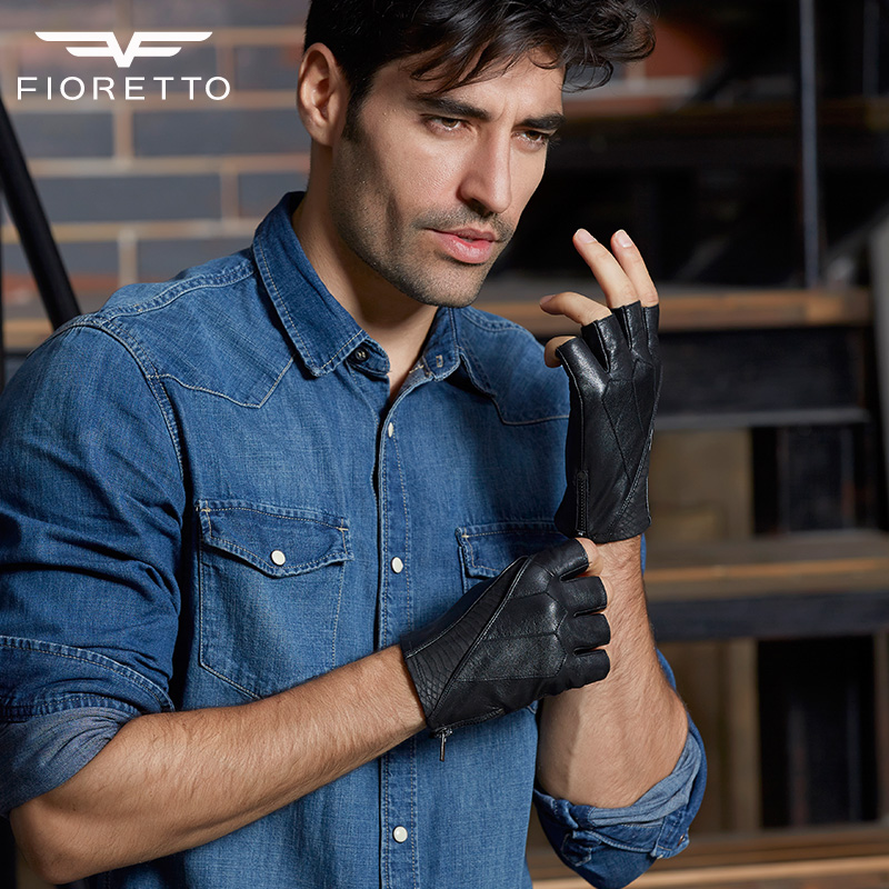 Fioretto Men Fashion Gloves Brand Genuine Leather Gloves Fingerless Male Half Finger Driving Gloves Motor Riding