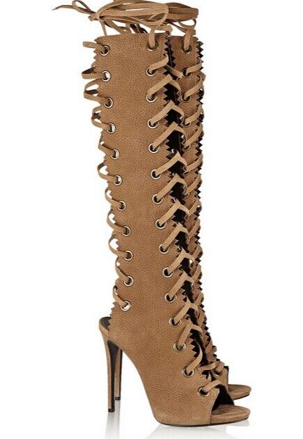 Détouré Réel Prix Brown Photo Cuir Toe 10 Au Qualité Taille Haute Genou Boot Cher Peep En Grande Pas Bottes Longueur Suede Texturé Retour 1fzn1Y