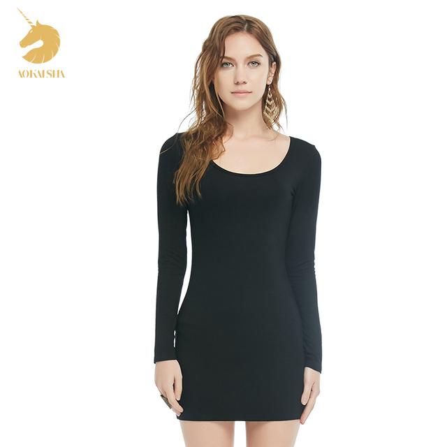 Otoño sección delgada de manga larga Delgado era delgada en párrafo largo vestido de gran tamaño de la cadera del paquete de representación camisa negro 2169
