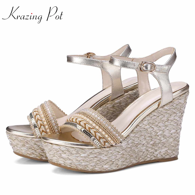 Krazing pot genuine leather embroidery high heels straw decorations platform sandals runway beading oriental beauty shoes