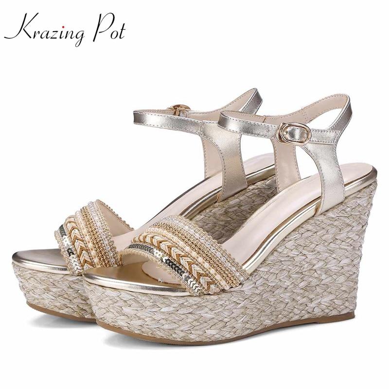 Ayakk.'ten Yüksek Topuklular'de Krazing pot hakiki deri nakış yüksek topuklu hasır süslemeleri platform sandaletler pist boncuk oryantal güzellik ayakkabı L38'da  Grup 1